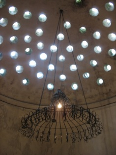 Hamam dome with chandelier