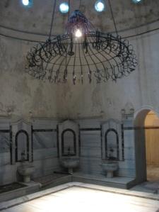 Hamam room with chandelier