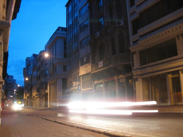 caught car lights